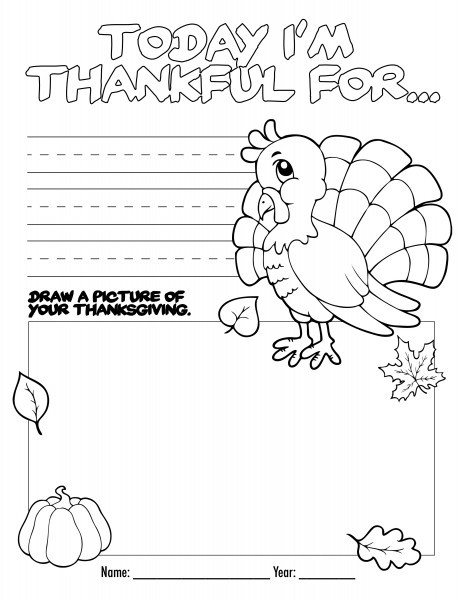 Printable Thanksgiving Coloring Pages For Kids | 600x464